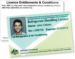 Refrigerant handling licence.