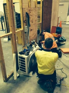 Stundets working at our air conditioning course Brisbane